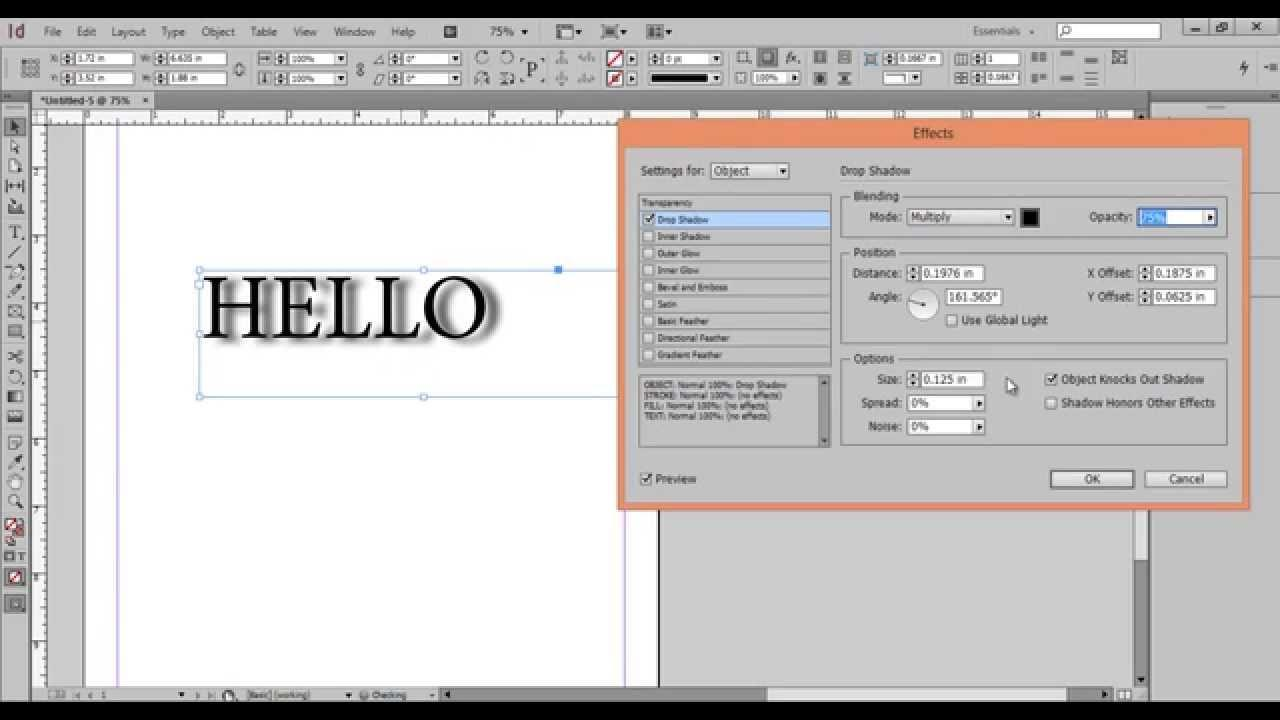 adobe indesign shadows desktop publishing software